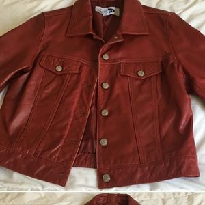 Red leather jacket from old Navy size small